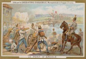 Napoleonov útok cez most pri Arcole sa stal námetom na obal čokolády. Predmostie hájil Alvinčiho peší pluk.